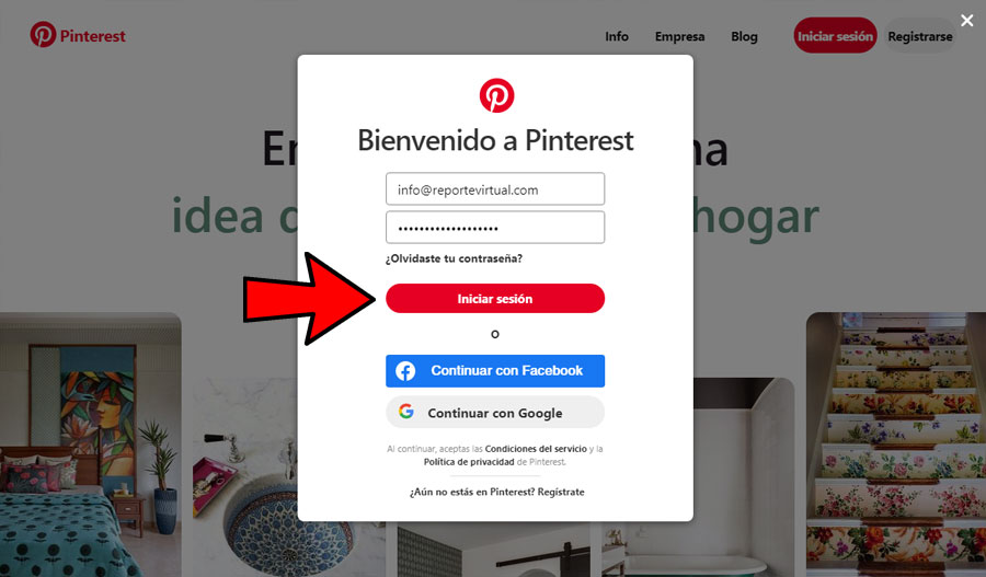 Iniciar sesión Pinterest PC