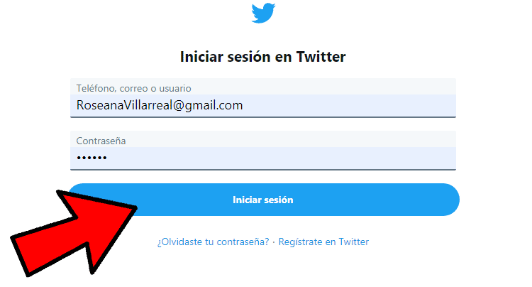 Iniciar sesion Twitter