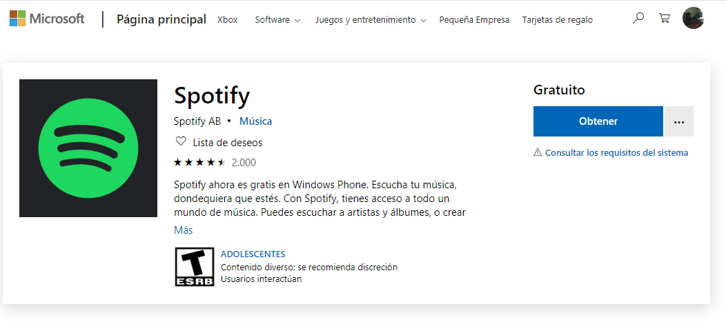 Descargar Spotify en Windows Phone