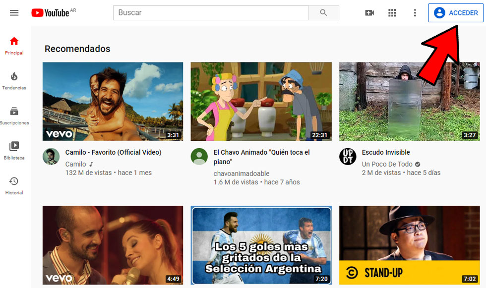 Iniciar sesion Youtube PC